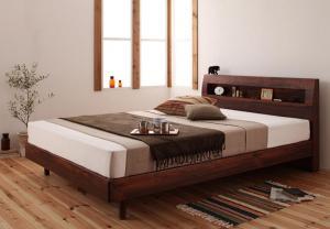 棚・コンセント付きデザインすのこベッド 羊毛入りゼルトスプリングマットレス付き セミダブル