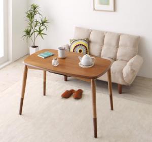 ソファ&テーブルセット 高さが変えられる! 天然木アルダー材高継脚こたつテーブル&リクライニングカウチソファセット ソファ&テーブルセット 2P