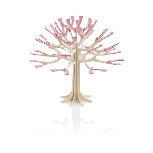 北欧雑貨【LOVI】ロヴィ【メール便対応可】シーズンツリー・12cm/ナチュラルウッド+チェリーピンク / グリーティングカード (組み立て式)