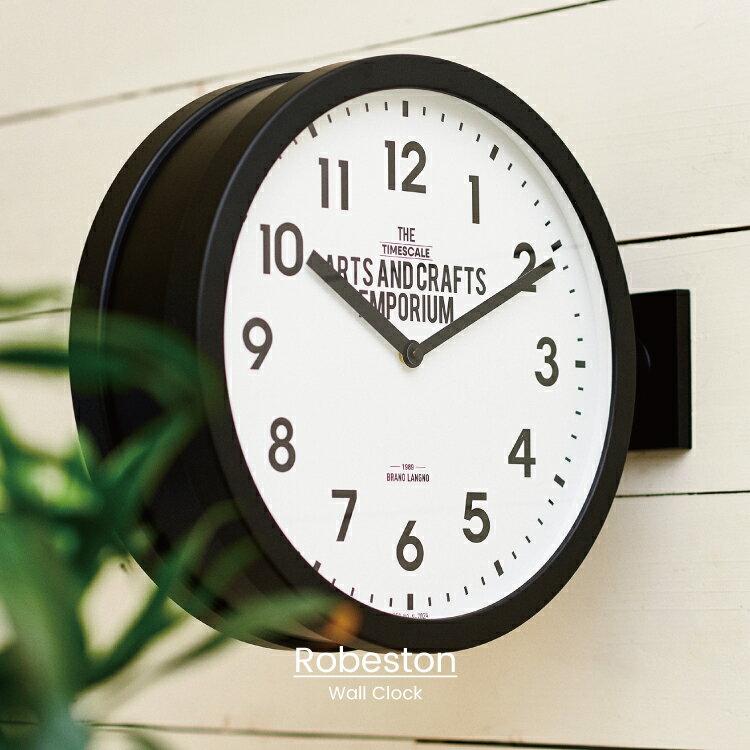 【インターフォルム公式】 【送料無料】 Robeston ロベストン 掛け時計 | 両面時計 時計 おしゃれ お洒落 かわいい インテリア スイープムーブメント 壁時計 壁掛け時計 置時計 インダストリアル ヴィンテージ メンズ リビング ダイニング 一人暮らし ブラック カフェ