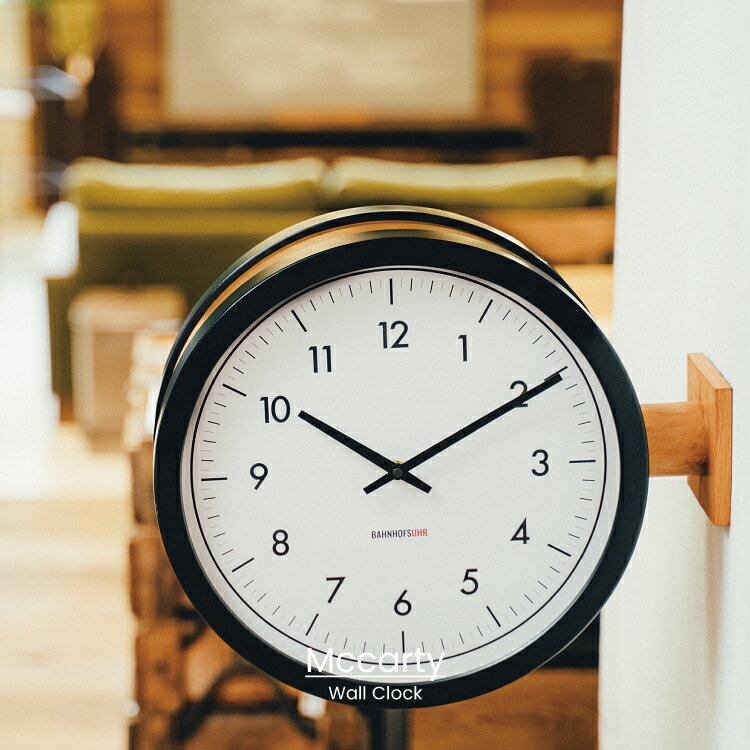 【インターフォルム公式】 【送料無料】 Mccarty マッカーティ 掛け時計   時計 おしゃれ お洒落 かわいい インテリア スイープムーブメント 壁時計 壁掛け時計 両面時計 モノトーン シンプル ナチュラル 北欧 リビング ダイニング 一人暮らし デザイン ギフト カフェ