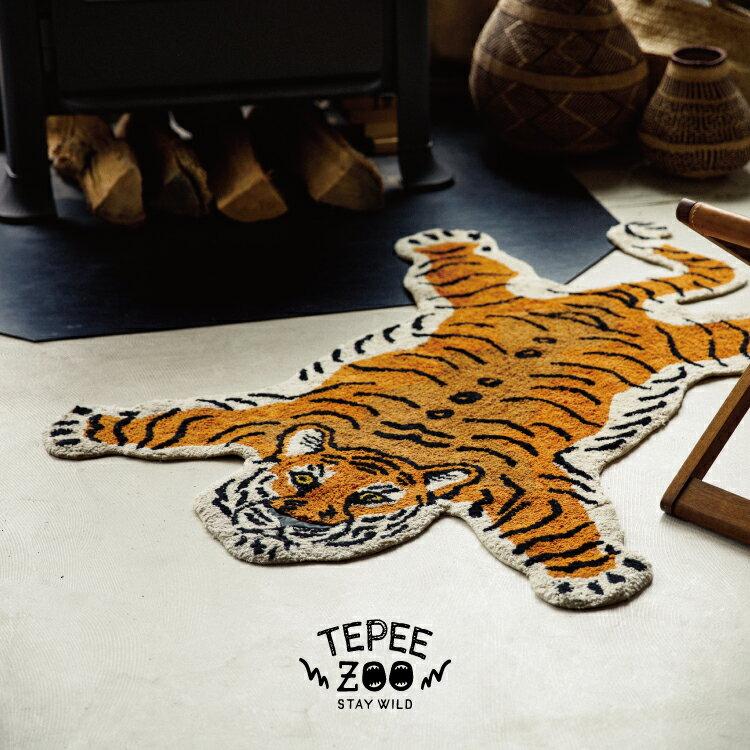 【インターフォルム公式】 【送料無料】 Tepee Zoo ティピー ズー マット | ラグマット ラグ おしゃれ お洒落 かわいい トラ パンダ シロクマ インテリア バスマット 玄関マット 子供部屋 コットン リビング 寝室 玄関 一人暮らし 動物 アニマル