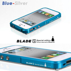 iphone4sケースアルミバンパーメタルプレミアム航空機素材ジュラルミンBLADEスペシャルエディション[ブルー/シルバー]+[ピンク/シルバー]4thDesignスマホケースバンパーiPhone4