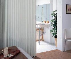 ニチベイアコーディオンカーテンやまなみマーク2バイアス・バーク幅91〜125cmX高さ241cm〜260cmまで
