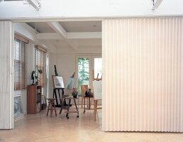 ニチベイアコーディオンカーテンやまなみマーク2ノーブル(スーパー防汚加工)幅161〜195cmX高さ261cm〜280cmまで