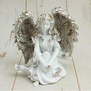 ホワイトローズシッティングエンジェル L02妖精雑貨 フェアリー雑貨 妖精置物 天使置物 オブジェ 天使 エンジェル 天使雑貨 エンジェル雑貨 薔薇 ばら バラ