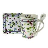 小花ブルーマグ3点セットマグマグカップスプーン付コルクコースターギフトプレゼント花フラワーベリー