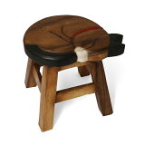 ウッドスツール 眠りネコ Φ25×H25〜26cm 送料無料 アカシア製 天然木 手作り ディスプレイ台 腰掛 可愛い 動物 ラウンドスツール 椅子