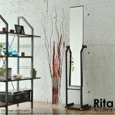 【在庫処分特価】ミラー スタンドミラー 鏡 全身 姿見 スタンド 木製 Rita[リタ] ナチュラル 北欧 テイスト おしゃれ スチール 黒 白 インテリアカフェ