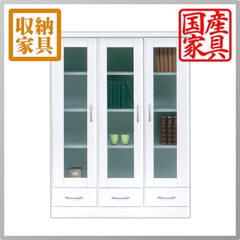 本棚 書棚 食器棚 カップボード CD DVD収納 フリーボード ホワイト 白 幅90 90幅 高さ120cm 鏡面 ツヤあり 開き戸 引き出し 本収納 日本製 完成品 送料無料 おしゃれ かわいい