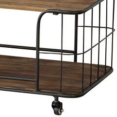 センターテーブルローテーブルアイアンキャスター付Toreno天然木幅60cm
