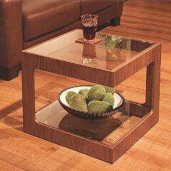 サイドテーブルミニテーブルガラス棚ウォールナット調ラウル50cm角