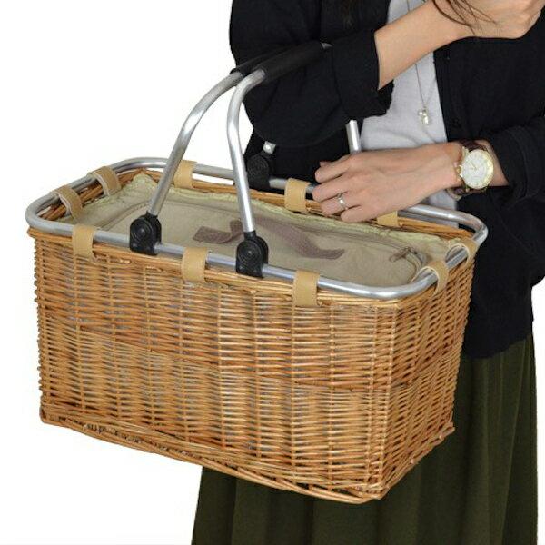 ピクニックバスケット保冷かごバッグ煮柳バスケットふた付きハンドル付き(送料無料保冷バッグカゴバッグ天然素材角型かわいいインテリア雑貨ふた付き編み)【39ショップ】