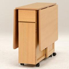 テーブル折りたたみバタフライテーブルキャスター付幅125cm収納時幅32cm