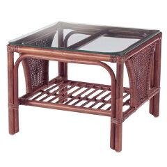 籐ガラステーブルラタンフレーム正方形幅55cm
