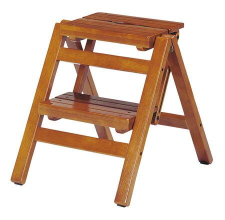 ステップチェア 折りたたみ式 2段 木目 ブラウン( 送料無料 踏み台 脚立 椅子 イス 木製 )【39ショップ】