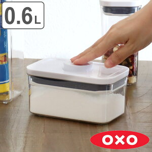 OXO オクソー ポップコンテナ2 レクタングル ミニ 0.6L ( 保存容器 密閉 プラスチック 密閉容器 密閉保存容器 プラスチック製保存容器 透明 調味料容器 ストッカー コンテナ スタッキング ワンプッシュ開閉 )【39ショップ】