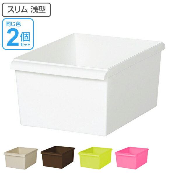 収納ボックス スリム浅型 カラーボックス インナーボックス 収納 同色2個セット 日本製 ( 収納ケース プラスチック おもちゃ箱 スリム スタッキング 積み重ね カラーボックス対応 カラーボックス用 インナーケース 小物収納 小物入れ 小物 おもちゃ )【39ショップ】