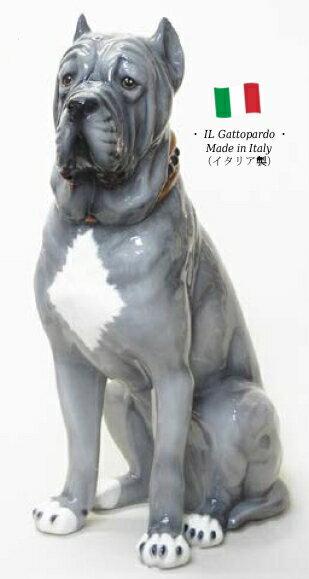 ナポリタンマスティフ 置物 オブジェ h6-113 【送料無料】 イタリア 陶器 動物 雑貨 犬 イヌ