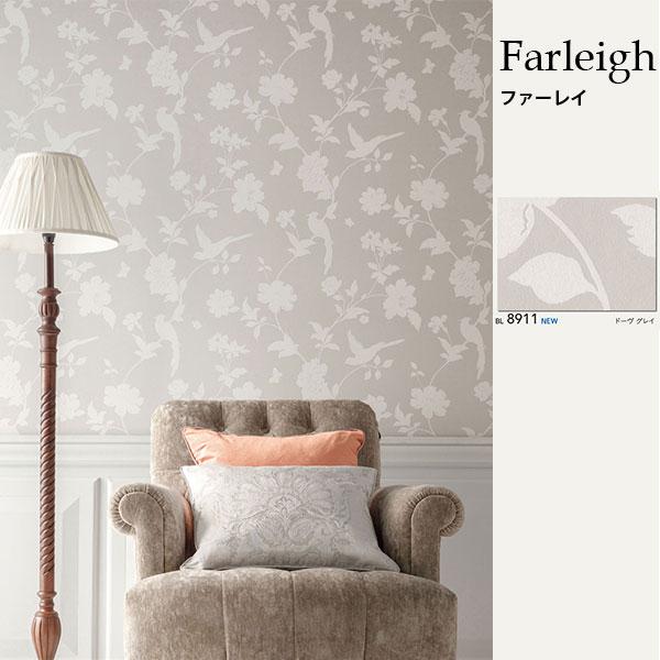 ローラアシュレイ ビニル壁紙コレクション Farleigh ファーレイ BL8911 ドーヴ グレイ 巾92.5cm 1m単位