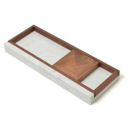 シィナベル トレイ400 ウッドプレート付 イタリア天然大理石 ウォールナット無垢材 日本製 送料無料