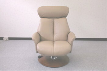 【リクライニングチェア】【パーソナルチェア】ベローナ一人用chairベージュ色牛革レザー【オットマン付】【開梱設置送料無料(一部地域除く)】