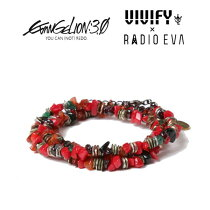 2013 VIVIFY x RADIO EVAエヴァンゲリオン公式アクセサリー[VIVIFY x RADIO EVA] Pebble &Metal Chip's Beads Cord/式波・アスカ・ラングレー【職人の完全手作業による逸品】