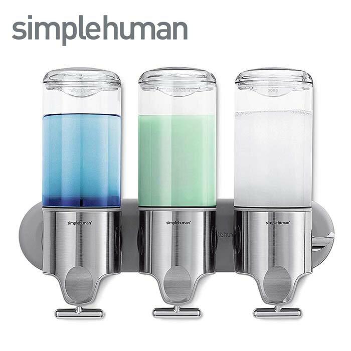 simplehuman シンプルヒューマン ウォールマウントポンプ 444ml×3 トリプル ディスペンサー BT1029