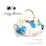 日本製本革使用ハンドバッグ大柄フラワープリント花柄プリントホワイトグリーンネイビーレディーススウェイフラワー可愛いバッグ