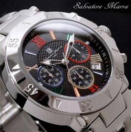 サルバトーレマーラクオーツメンズクロノ腕時計SM8005-BKCL
