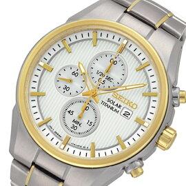 セイコーSEIKOクオーツソーラークロノグラフ腕時計SSC368P1ホワイトメンズ