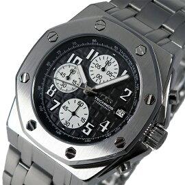 テクノスTECHNOSクオーツクロノグラフ腕時計T4393SBブラックメンズ