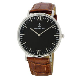 キャプテン&サンKAPTEN&SON40mmブラック/ブラウンクロコレザー腕時計SV-KS40BKBRCLレディース