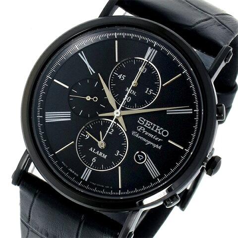 【ポイント2倍】(〜3/31)【キャッシュレス5%】セイコー SEIKO プルミエ Premier クロノグラフ クオーツメンズ 腕時計 SNAF79P1 ブラック メンズ