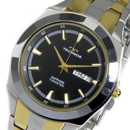 テクノスTECHNOSクオーツ腕時計T9197GBブラックメンズ