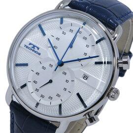 テクノスTECHNOSクオーツクロノグラフ腕時計T6397SNホワイト/ネイビーメンズ