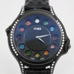【中古】フェンディクレイジーカラットダイヤベゼルクォーツレディース腕時計ブラック純正クロコ革ベルト10500L【いおき質店】