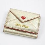 【中古】miumiuミュウミュウマドラスラブ三つ折り財布ミニウォレットレター型ゴールド【いおき質店】