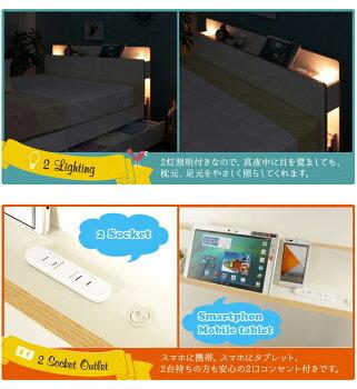 ダブルベッドフレームのみLYCKA(リュカ)北欧モダンすのこベッド収納付きベッド収納ベッド2灯照明スマホ携帯充電OK2口コンセント本棚付き・棚照明付き引き出し付きベッドすのこベット北欧ホワイトシンプルダブルベット[新商品][byおすすめ][送料無料]