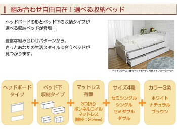選べる収納ベッドシングルハイタイプ2分割引出し収納オープン棚1HW+3OPWヘッドレスボンネルコイルマットレス付木製