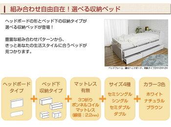 選べる収納ベッドシングルハイタイプ3分割引出し収納3杯オープン棚1H+2H+1OP棚付ヘッドボードボンネルコイルマットレス付木製