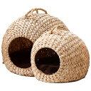 ねこの巣 大・小2個セット[猫ちぐら ベッド ドーム ヒヤシンス 水草 セット 手編み おしゃれ] - ip-plus