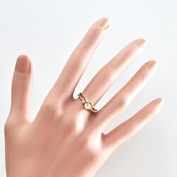 【couronne-クロヌ-】サンタマリアアクアマリンK10イエローゴールドツイストリング10号(9687)B065-1503