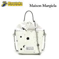 MaisonMargielaメゾンマルジェラペイント5ACバケットバッグ斜め掛けショルダーハンドレザー白黒【中古】【送料無料】