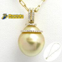K18ゴールデンパールネックレス50cmチェーンダイヤモンドどんぐりバロックパール真珠【中古】【送料無料】
