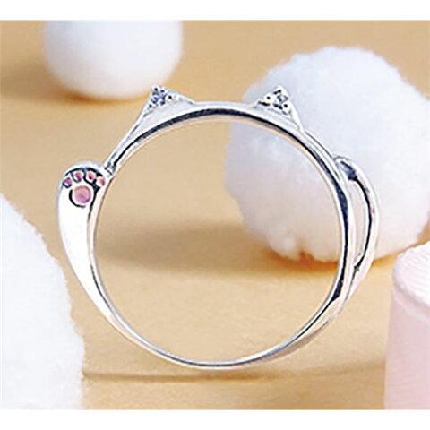 ダイヤモンド招き猫リング/指輪 【15号】 シルバー925 ダイヤモンド約0.02ct 日本製【代引不可】 送料込!