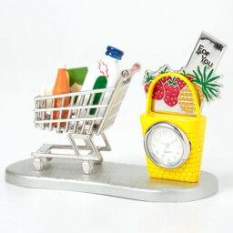 ミニチュア置時計 ショッピングカート 買い物かご シルバー イエロー MC-C3322 送料込!