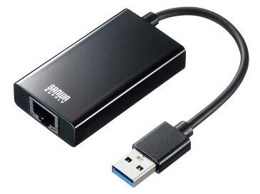 USB3.1-LAN変換アダプタ(USBハブポート付・ブラック) USB-CVLAN3BK