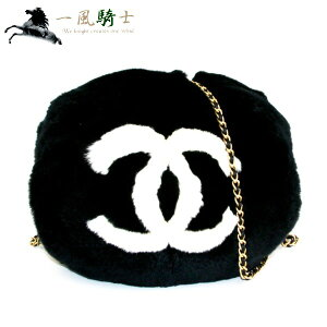 316289 [Used] [CHANEL] [Chanel] Hand Muff Lapin x Leather Black
