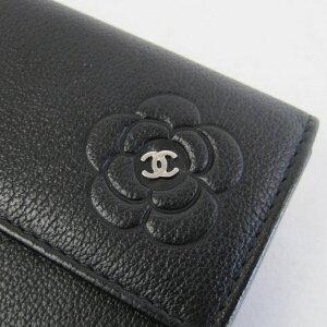 148449【送料無料】【中古】【CHANEL】【シャネル】Wホック長財布カメリアカーフブラック(黒)A46509バタフライ二つ折り長財布2つ折り長財布両面長財布